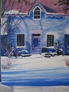 Blue House in Winter